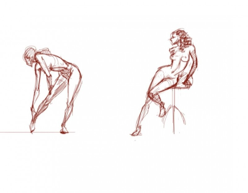 Figure studies, Krita with Wacom tablet.